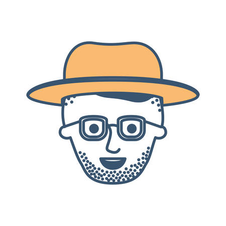 male face with hat and glasses and high fade haircut and stubble beard in color sections silhouette vector illustration Stock Vector - 90831738