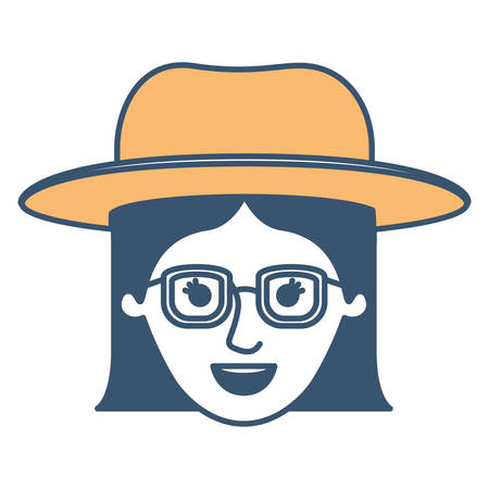 female face with hat and glasses with short straight hairstyle in color sections silhouette vector illustration