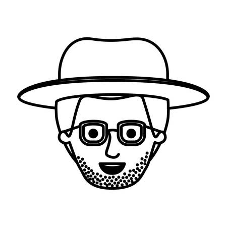 male face with hat and glasses and short hair and stubble beard in monochrome silhouette vector illustration Illustration