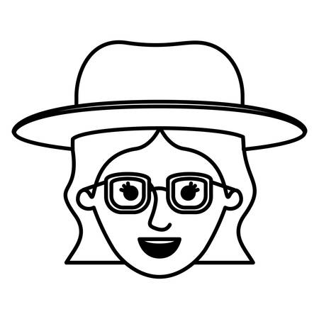 female face with hat and glasses and short wavy hair in monochrome silhouette vector illustration
