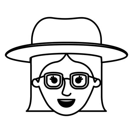 female face with hat and glasses with short straight hairstyle in monochrome silhouette vector illustration