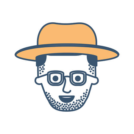 male face with hat and glasses and stubble beard and side parted hairstyle in color sections silhouette vector illustration