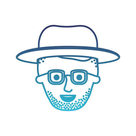 male face with hat and glasses and high fade haircut and stubble beard in degraded blue silhouette vector illustration