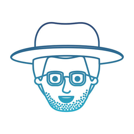 male face with hat and glasses and short hair and stubble beard in degraded blue silhouette vector illustration