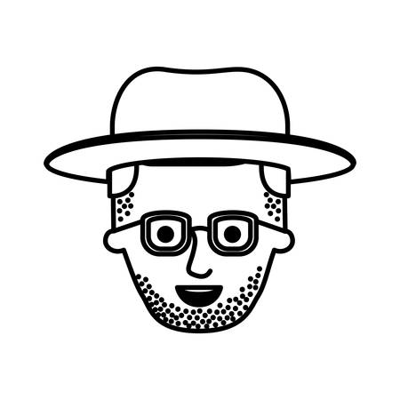 male face with hat and glasses and stubble beard and side parted hairstyle in monochrome silhouette vector illustration