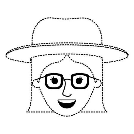 female face with hat and glasses with short straight hairstyle in black dotted silhouette vector illustration