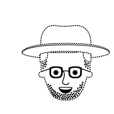 male face with hat and glasses and stubble beard and side parted hairstyle in black dotted silhouette vector illustration Illustration