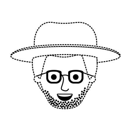 male face with hat and glasses and short hair and stubble beard in black dotted silhouette vector illustration Illustration