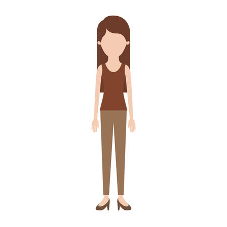 faceless woman full body with t-shirt sleeveless and pants and heel shoes with long straight hair in colorful silhouette vector illustration Illustration