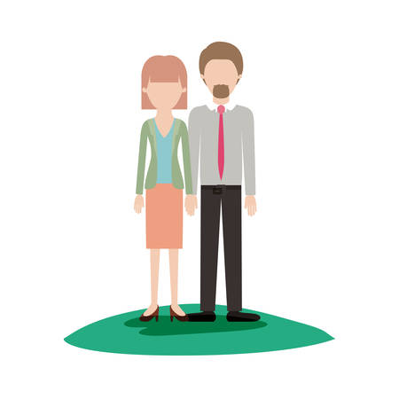 faceless couple colorful scene outdoor and her with blouse and jacket and skirt and heel shoes with mushroom hairstyle and him with shirt and tie and pants and shoes with short hair and goatee beard vector illustration Illustration