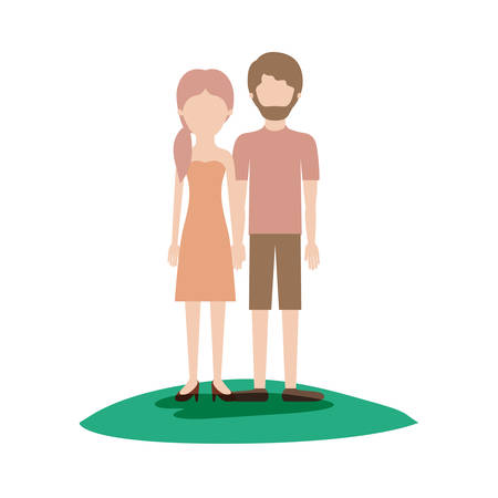 faceless couple colorful scene outdoor and her with strapless dress and heel shoes with pigtail hairstyle and him with t-shirt and short pants and shoes with short hair and beard vector illustration