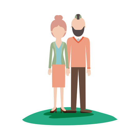faceless couple colorful scene outdoor and her with blouse and jacket and skirt and heel shoes with collected hair and him with beard and sweater and pants and shoes with taper fade haircut vector illustration Illustration