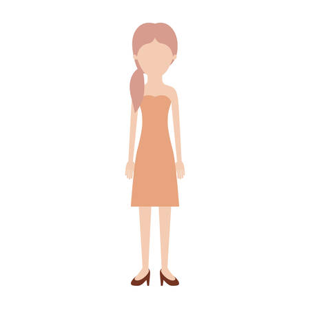 faceless woman full body with strapless dress and heel shoes with pigtail hairstyle in colorful silhouette vector illustration Illustration