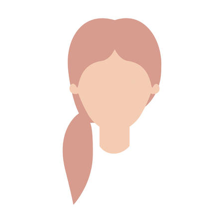 faceless woman with pigtail hair in colorful silhouette vector illustration