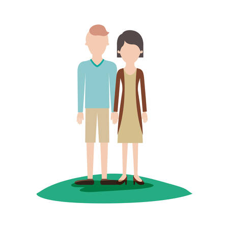 faceless couple colorful scene outdoor and him with t-shirt long sleeve and short pants and shoes with high fade haircut and her with blouse and jacket and skirt and heel shoes with short hair vector illustration