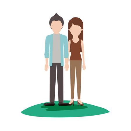 faceless couple colorful scene outdoor and him with shirt and jacket and pants and shoes with short hair and her with t-shirt sleeveless and pants and heel shoes with long straight hair vector illustration Illustration