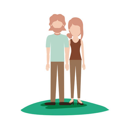 faceless couple colorful scene outdoor and both with t-shirt and pants and shoes and him with mid length hair and beard and her with collected hair and fringe vector illustration