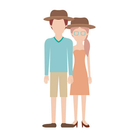 faceless couple colorful silhouette and both with hat and him with sweater and short pants and shoes and her with glasses strapless dress and heel shoes with pigtail hairstyle vector illustration