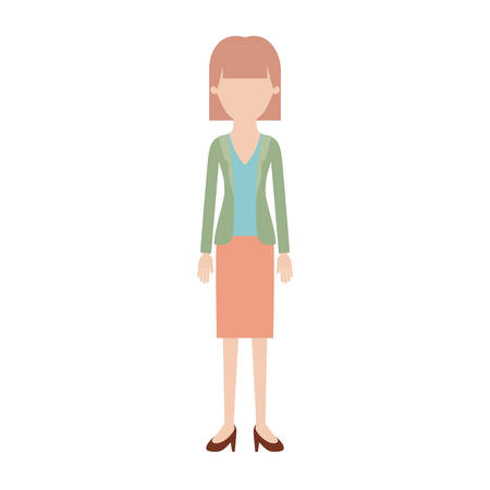 faceless woman full body with blouse and jacket and skirt and heel shoes with mushroom hairstyle in colorful silhouette vector illustration