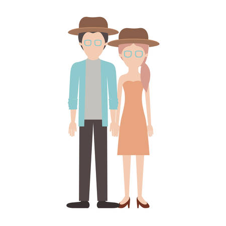 faceless couple colorful silhouette and both with hat and glasses and him with shirt and jacket and pants and shoes and her with strapless dress and heel shoes with pigtail hairstyle vector illustration