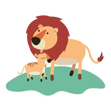 Cartoon lion and cub over the grass.
