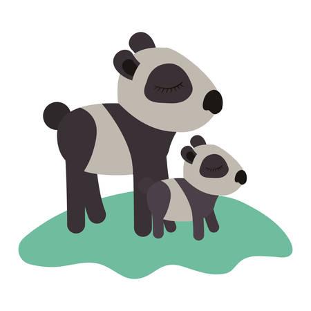 Cartoon panda mom with cub over the grass.