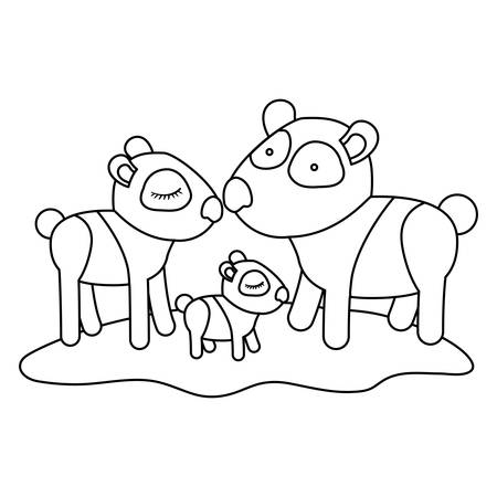 Cartoon pandas couple with cub over grass in monochrome silhouette vector illustration.