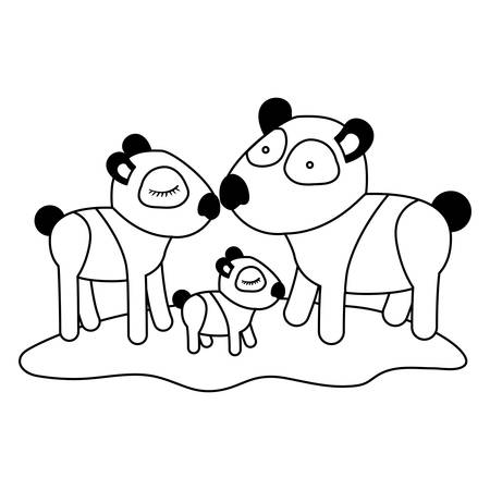 Cartoon pandas couple with cub over grass in black silhouette vector illustration. Illustration
