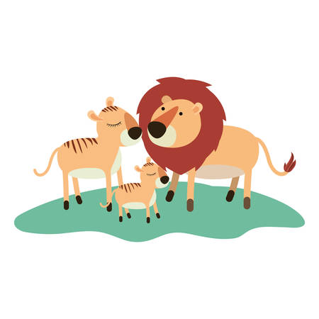 Cartoon lions couple and cub over grass in colorful silhouette on white background vector illustration.