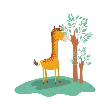 Giraffe cartoon in forest next to the trees in colorful silhouette vector illustration. Illustration