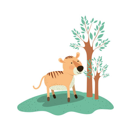 Tiger cartoon in forest next to the trees in colorful silhouette vector illustration. Illustration