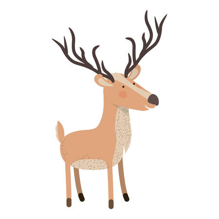 Deer cartoon with long horns colorful silhouette in white background vector illustration.