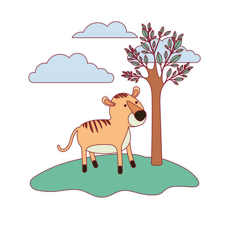 tiger cartoon in forest next to the trees in colorful silhouette with thin contour vector illustration