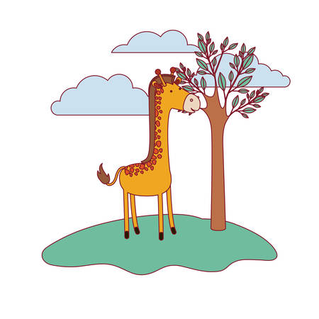 giraffe cartoon in forest next to the trees in colorful silhouette with thin contour vector illustration