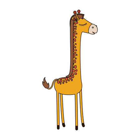 female giraffe cartoon with closed eyes expression colorful silhouette in white background vector illustration Illustration