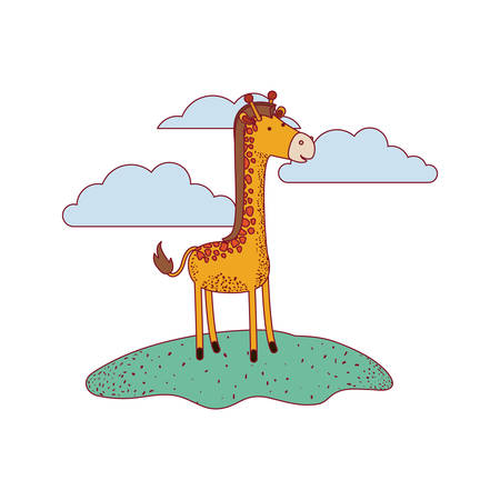 giraffe cartoon in outdoor scene with clouds on colorful silhouette with thin contour vector illustration