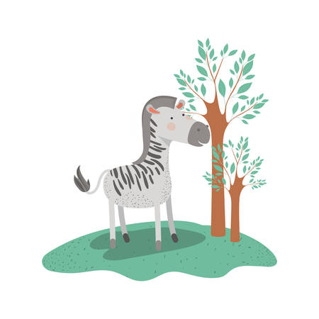zebra cartoon in forest next to the trees in colorful silhouette vector illustration Çizim