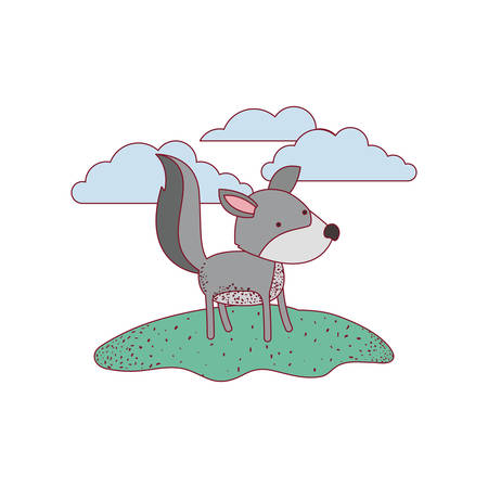 wolf cartoon in outdoor scene with clouds on colorful silhouette with thin contour vector illustration