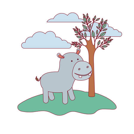 hippopotamus cartoon in forest next to the trees in colorful silhouette with thin contour vector illustration Illustration