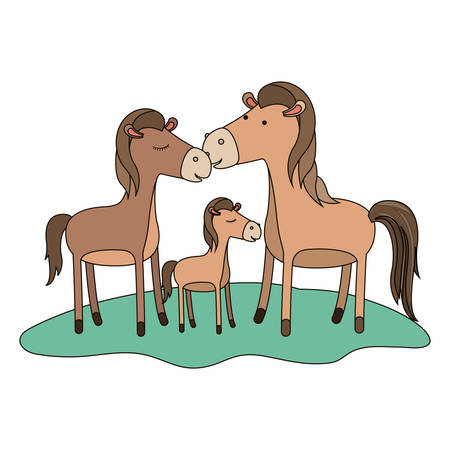 Horses couple and foal over the grass illustration. 向量圖像