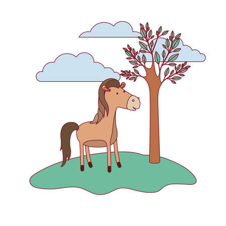 Horse cartoon in forest next to a trees.