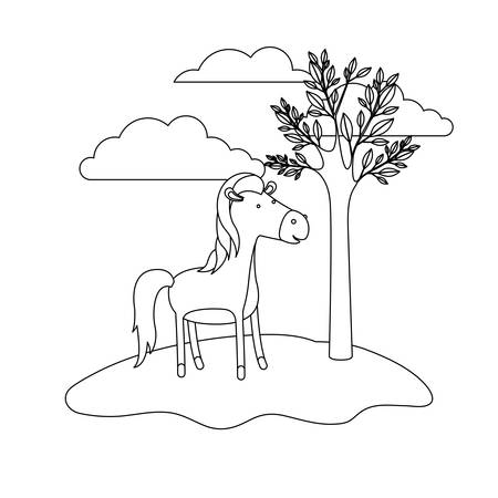 horse cartoon in outdoor scene with trees and clouds in monochrome silhouette vector illustration