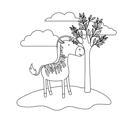 zebra cartoon in outdoor scene with trees and clouds in monochrome silhouette vector illustration