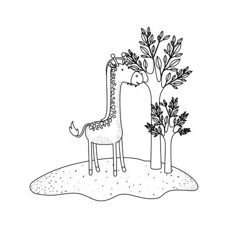 giraffe cartoon in forest next to the trees in monochrome silhouette vector illustration Illustration