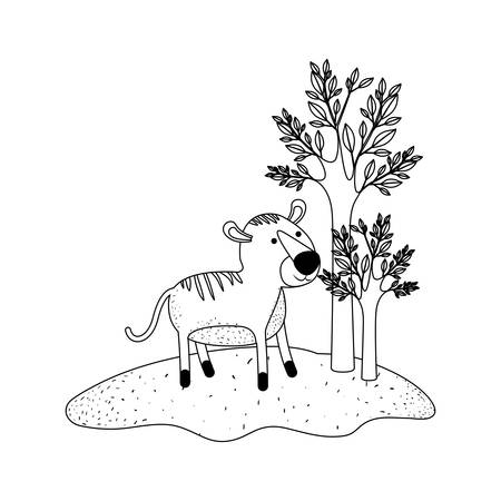 tiger cartoon in forest next to the trees in monochrome silhouette vector illustration