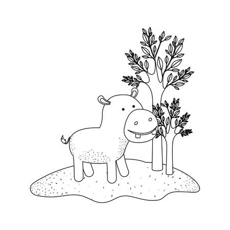 hippopotamus cartoon in forest next to the trees in monochrome silhouette vector illustration Illustration