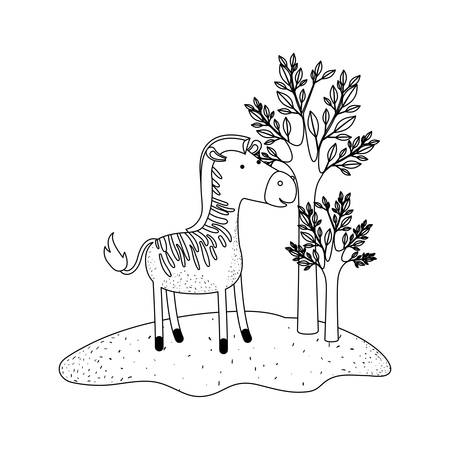 zebra cartoon in forest next to the trees in monochrome silhouette vector illustration