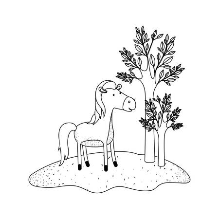 horse cartoon in forest next to the trees in monochrome silhouette vector illustration
