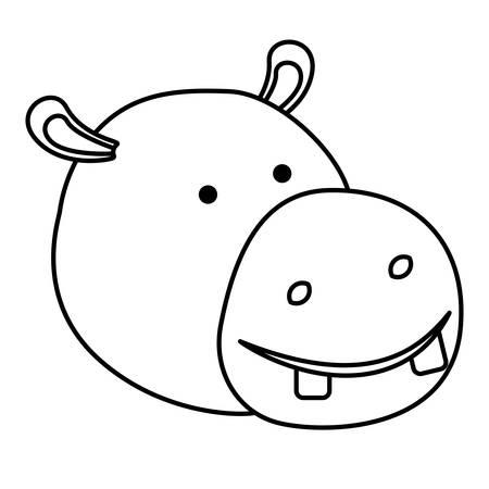 hippopotamus cartoon head in monochrome silhouette vector illustration Illustration