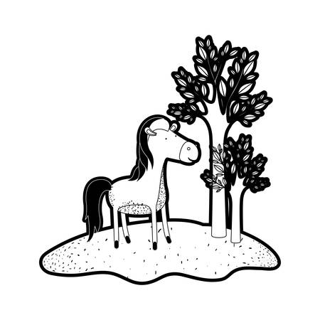 horse cartoon in forest next to the trees in black silhouette with thick contour vector illustration